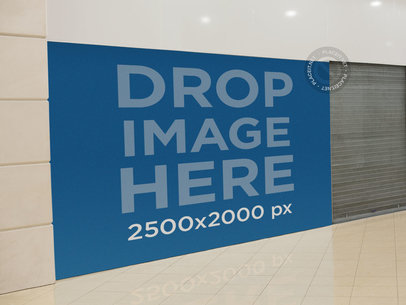 Horizontal Banner Mockup at a Mall a10650