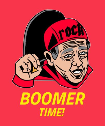 T-Shirt Design Maker Featuring a Funny Old Boomer 2076a