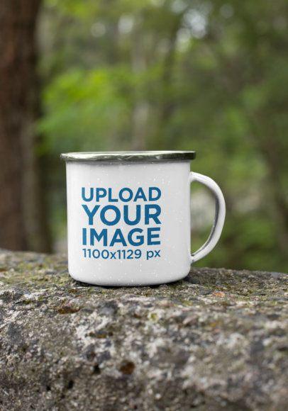 Mockup of a 12 oz Silver Rim Enamel Mug Placed on a Lodge 30814