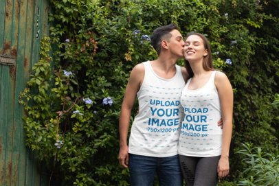Tank Top Mockup of a Couple in the Garden 30750