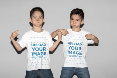 T-Shirt Mockup of Two Identical Twin Boys Making Faces 31008