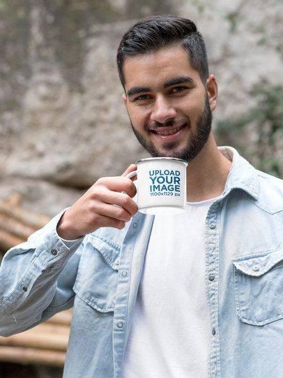 Mockup of a Man Drinking Coffee from a Silver Rim Enamel Mug 30810