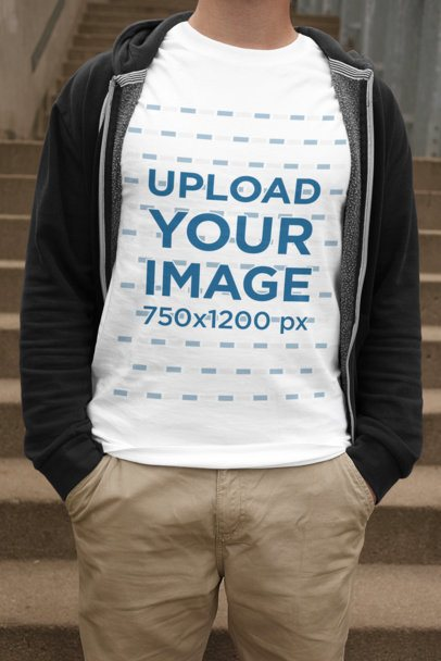 T-Shirt Mockup of a Man Casually Standing 2012-el1