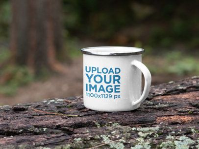 Mockup of a Silver Rim Enamel Mug Placed on a Log in the Woods 30819