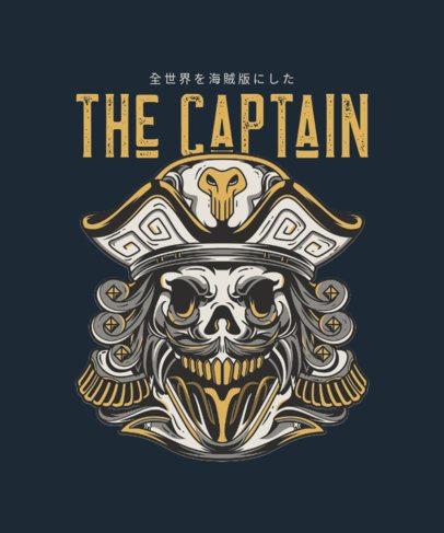 T-Shirt Design Template Featuring an Undead Pirate Captain 36d-el1