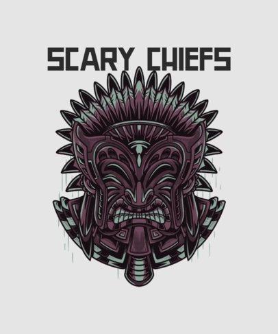 Illustrated T-Shirt Design Maker Featuring a Tribal Chief 36i-el1