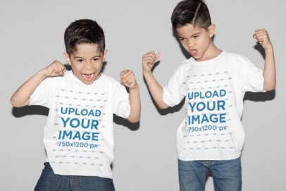 T-Shirt Mockup Featuring Two Twin Boys Making Funny Faces at a Studio 31005