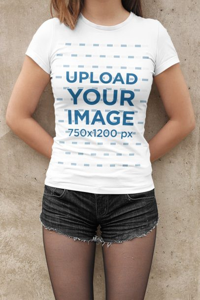 T-Shirt Mockup of a Woman Wearing Short Shorts 2014-el1