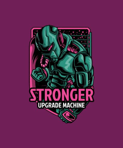 Cool T-Shirt Design Generator Featuring a Powerful Robot Illustration 38g-el1