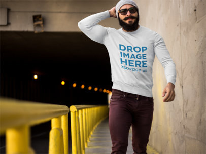 Crewneck Mockup Featuring a Bearded Man Below a Tunnel  9274