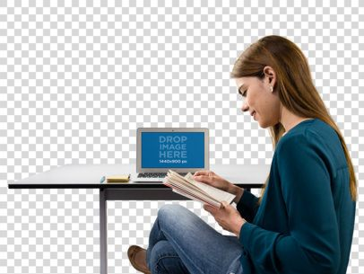 MacBook Mockup of a Woman Reading Her Notes a11556