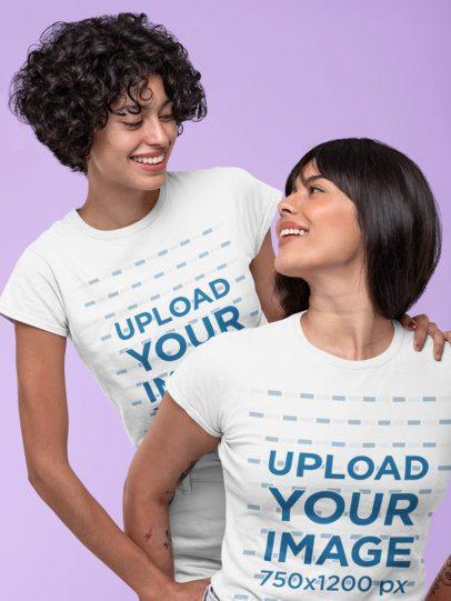 Mockup of a Playful Couple Wearing Matching T-Shirts 30407