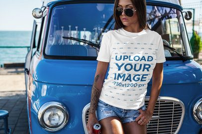Mockup of a Woman with a T-Shirt Leaning on a Van at the Beach 2260-el1