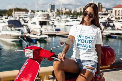 T-Shirt Mockup of a Cool Woman Sitting on a Motorcycle 2261-el1