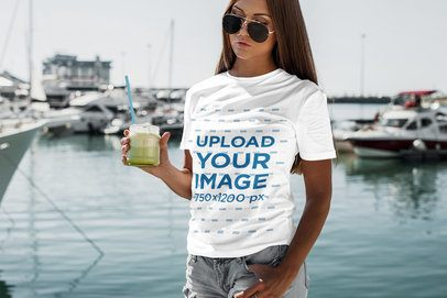 T-Shirt Mockup Featuring a Woman Drinking a Smoothie 2263-el1