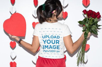 T-Shirt Mockup of a Woman Holding Valentine's Day Presents 31242