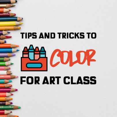 Back to School Pinterest Banner Maker with a Crayons Graphic 480a-el1