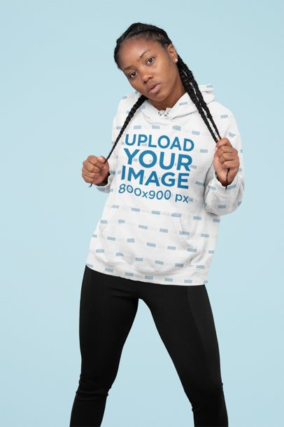Pullover Hoodie Mockup of a Serious Woman Grabbing Her Braids 31137