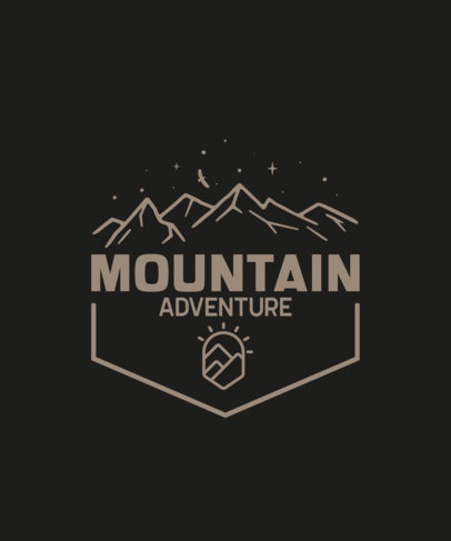 Adventurous T-Shirt Design Template with a Mountain Illustration 201-el1