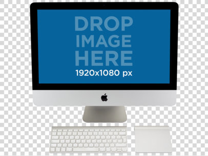 Transparent iMac Mockup With Keyboard and Trackpad  a11597