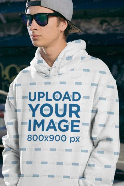 Sublimated Hoodie Mockup of a Man Wearing Sunglasses 31128