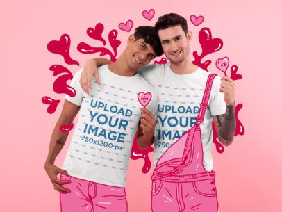 T-Shirt Mockup of a LGBT Couple Holding Heart-Shaped Lollipops 31196