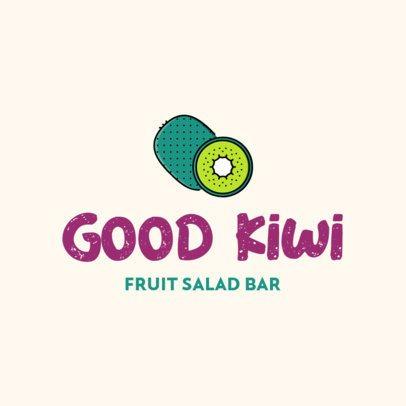 Fruit Salad Bar Logo Maker with a Kiwi Clipart 489b-el1