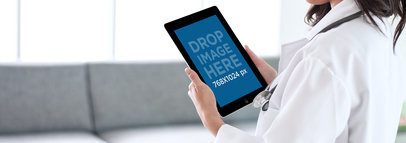 iPad Mockup of a Doctor in a Hospital's Waiting Room a5988