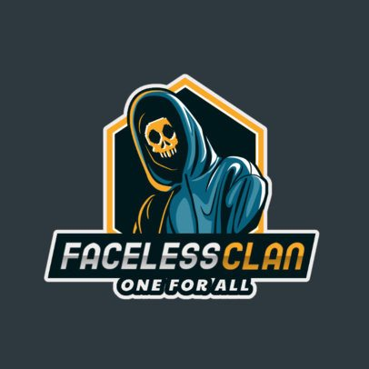 Logo Template for a Gaming Team Featuring a Hacker with a Skull Mask 2815i