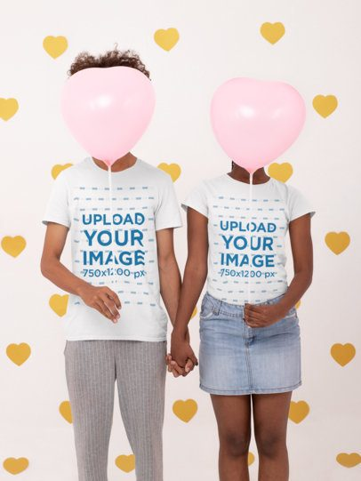 T-Shirt Mockup Featuring a Couple Holding Heart-Shaped Balloons 31215