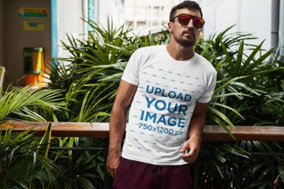 T-Shirt Mockup of a Man with Sunglasses Leaning Back 2246-el1