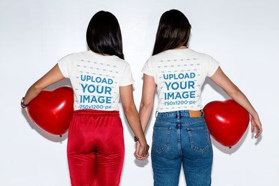 Back View Mockup of an LGBT Couple Wearing T-Shirts and Holding Hands 31237
