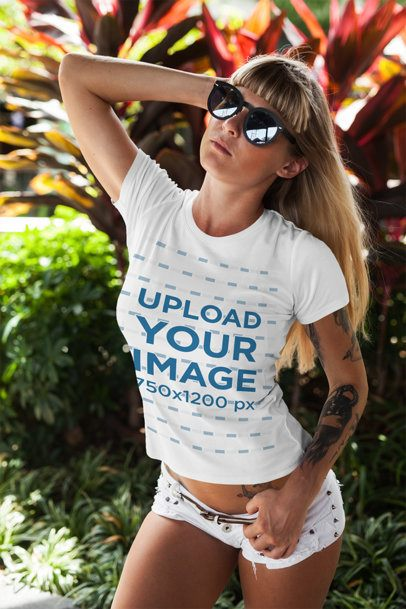 T-Shirt Mockup Featuring a Woman in a Summer Outfit 2250-el1