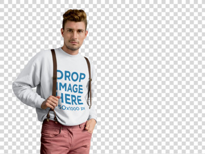 Crewneck Mockup of a Hipster Guy With Transparent Background a9997