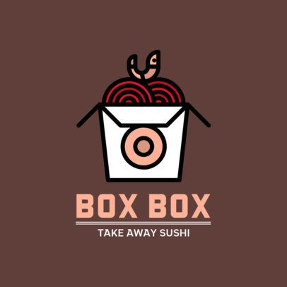 Logo Template for a Seafood Restaurant Featuring a Takeaway Box Graphic 500c-el1