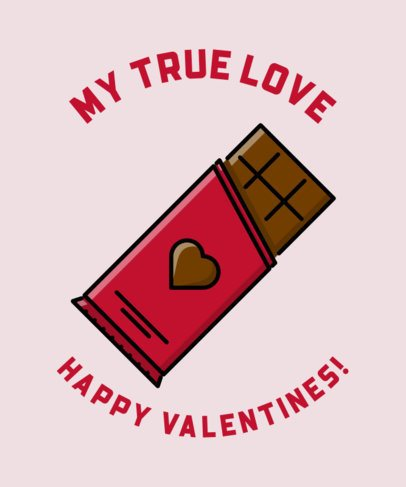 T-Shirt Design Template Featuring a Valentine's Chocolate Bar 491a-el1