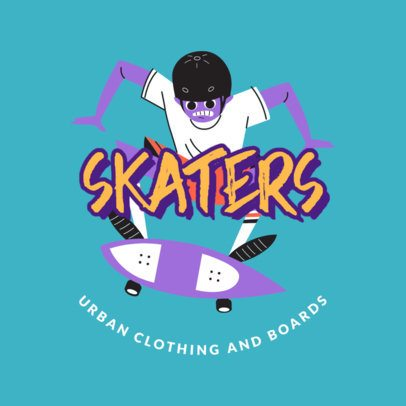 Urban Clothes Logo Maker with a Bold Skater Illustration 2591g-2837