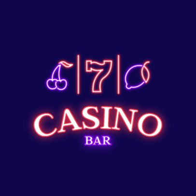 Neon Logo Template for a Casino Bar 2415g 2837