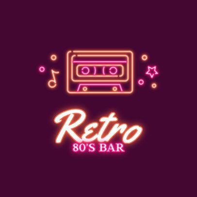 Retro Neon Logo Maker for an 80s-Themed Bar 2415h 2837