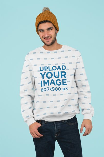 Sublimated Crewneck Sweatshirt Mockup of a Man Standing Against a Plain Background 31257