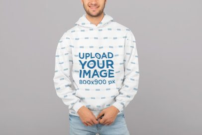 Sublimated Hoodie Mockup Featuring a Smiling Man inside a Studio 31267