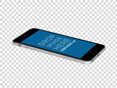 Mockup of a Black iPhone 6s Plus Over a Transparent Background a11605