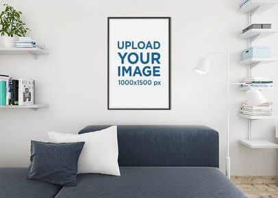 Mockup of an Art Print Frame Placed in a Modern Living Room 1970-el1