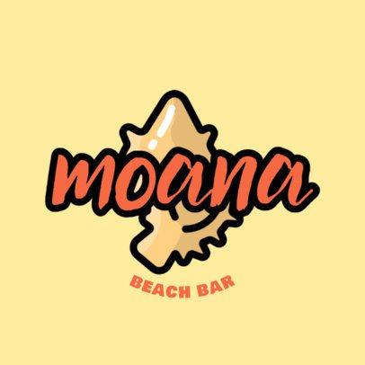 Beach Club Logo Creator with a Seashell Clipart 1759g-2838
