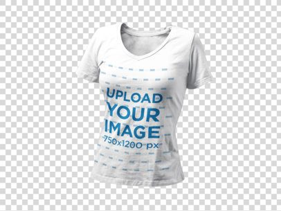 Invisible T-Shirt Mockup of a V-Neck Tee Over a Transparent Background a9139