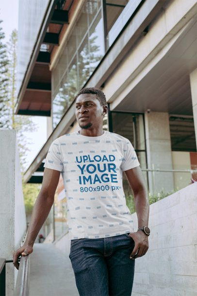 Sublimated T-Shirt Mockup Featuring a Serious-Looking Man 31375