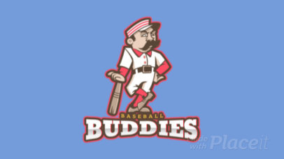 Animated Sports Logo Maker Featuring a Cartoonish Baseball Player 172f