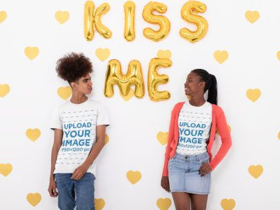 Valentine's Day T-Shirt Mockup of a Young Couple in a Studio Setting 31219