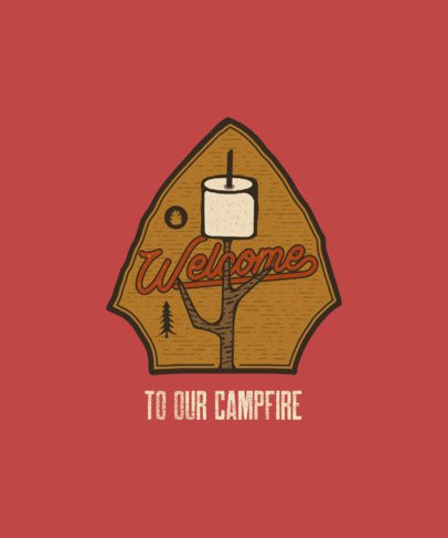Campfire-Themed T-Shirt Design Maker with an Adventure Patch Illustration 207a-el1