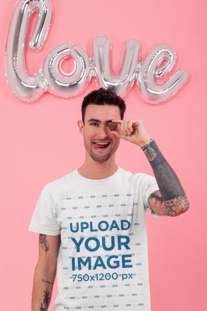 T-Shirt Mockup of a Man in a Valentine's Setting 31208